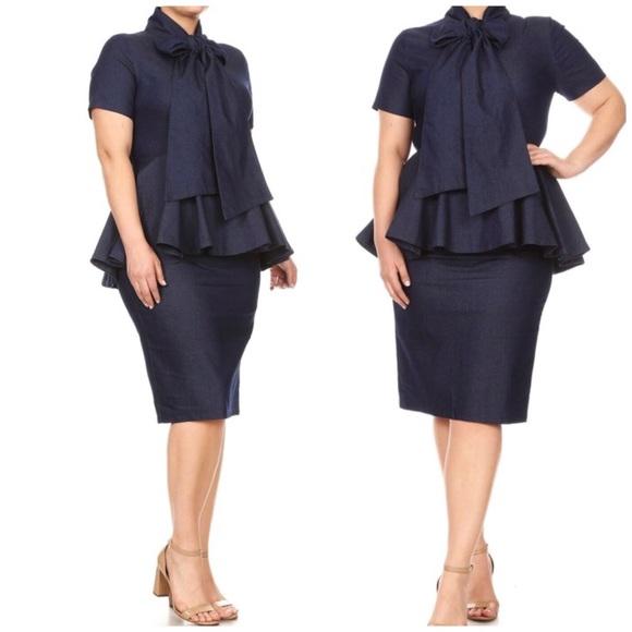 23a3e32ac451 midi denim dress Dresses | Hp Plus Size Denim Peplum Dress | Poshmark